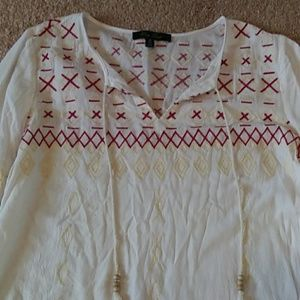 Peasant style embroidered top